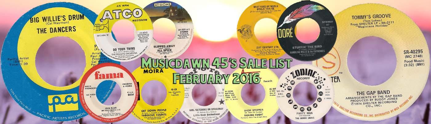 Musicdawn February 2016 45's Salelist